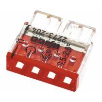 Vezeték összekötő 4x 0-2,5mm2 átlátszó 24A piros 100db/doboz