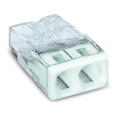 Vezeték összekötő 2x 0-2,5mm2 átlátszó 24A fehér 100db/doboz