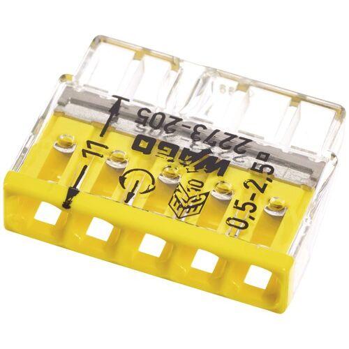 Vezeték összekötő 5x 0-2,5mm2 átlátszó 24A sárga 100db/doboz