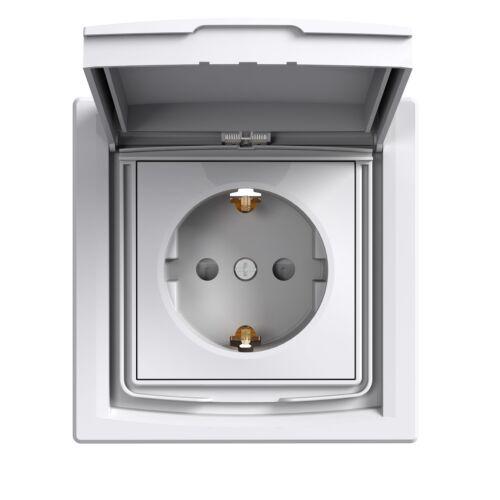 Asfora dugalj 2P+F 16A/250V vízm gyer.véd sülly IP44 fehér kerettel