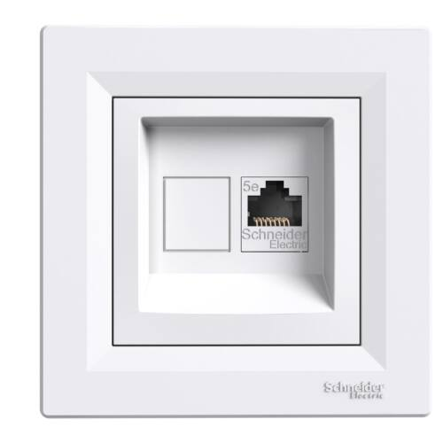 Asfora informatikai csatlakózóaljzat 1xRJ45 Cat5e UTP fehér kerettel
