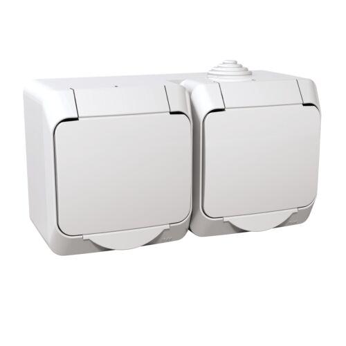 Cedar Plus Dugalj 2x(2P+F) 16A/250V vízm fk IP44 fehér